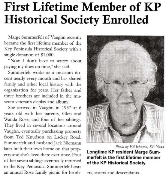 Marge Summerfelt lifetime KPHS member