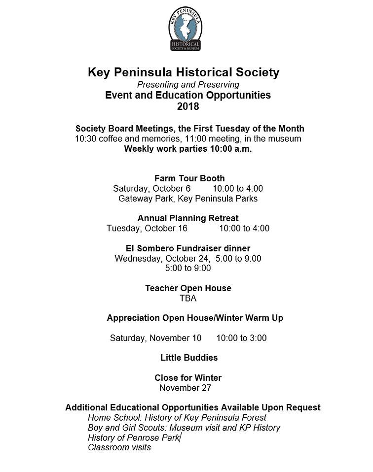 Key Peninsula Historical Society KPHS Museum calendar 2018