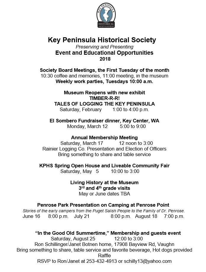 Key Peninsula Historical Society Museum calendar 2018 page 1 updated