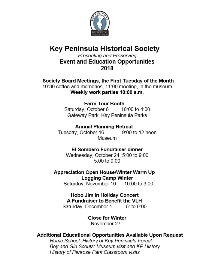 Key Peninsula Historical Society Museum calendar 2018 page 2 updated