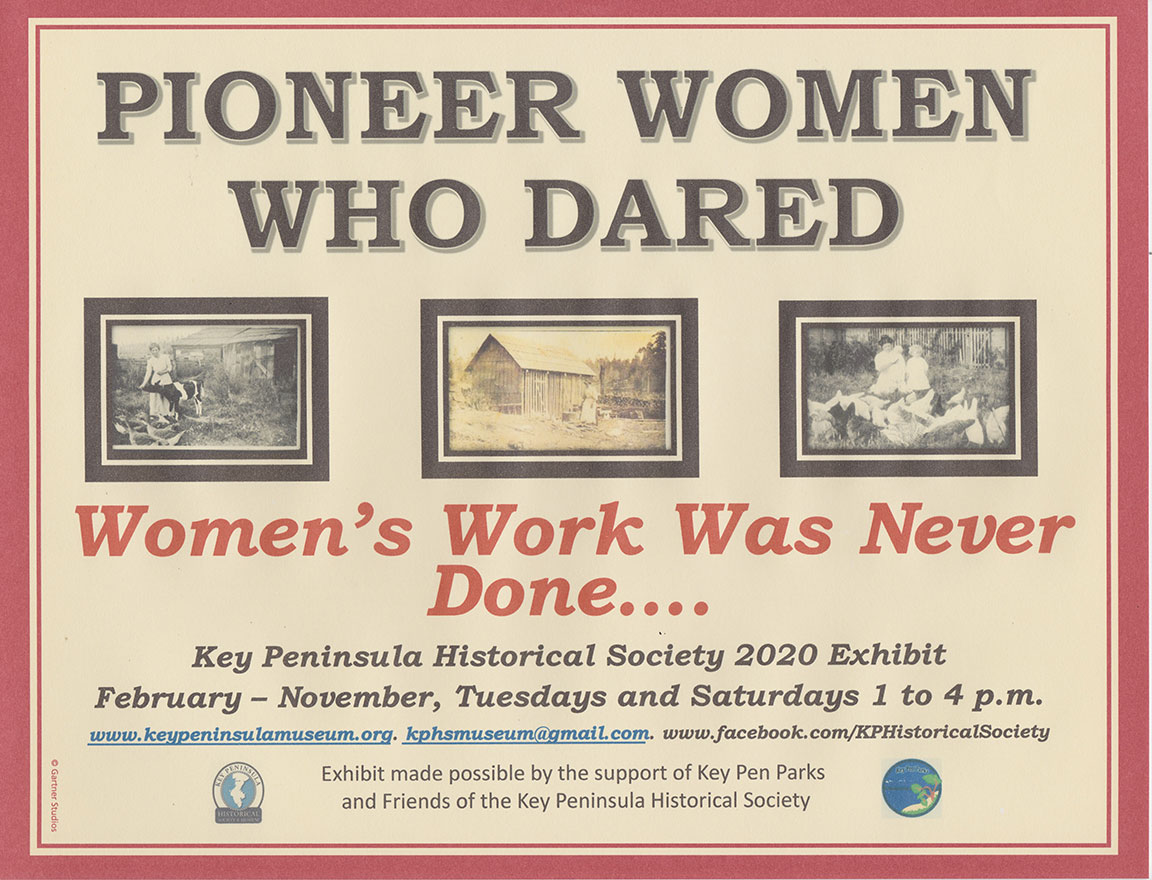 Key Peninsula Historical Society Museum Exhibit Spring 2020 Pioneer Women who Dared