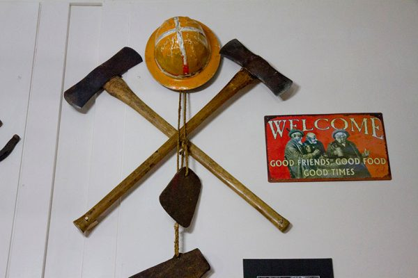 KPHS exhibit 2018 Timber-r-r! Logging the Key Peninsula helmet & axes